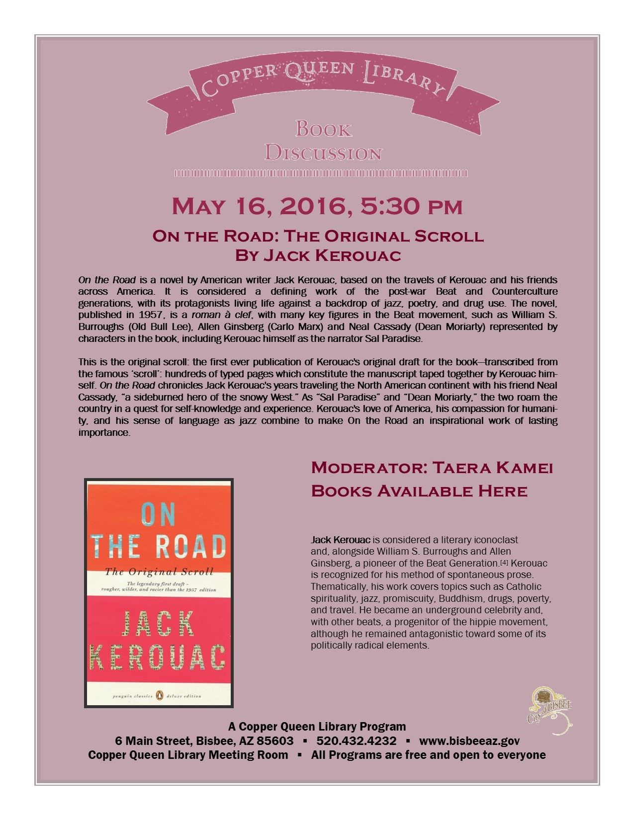 May 16 CQL BOOK DISCUSSION ON THE ROAD  8.5 x 11 5-16-2016