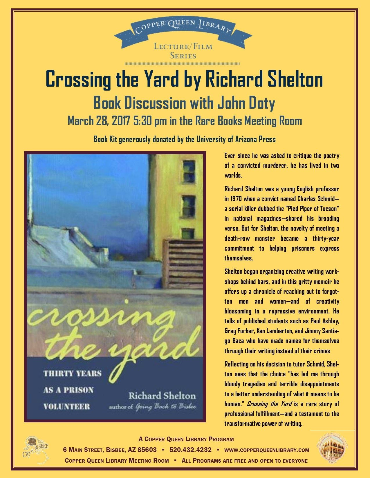 CROSSING THE YARD BOOK DISCUSSION POSTER
