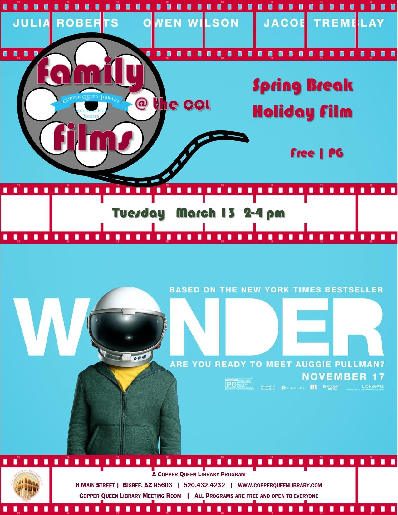 FAMILY FILMS WONDER MARCH 2018  8.5 X 11