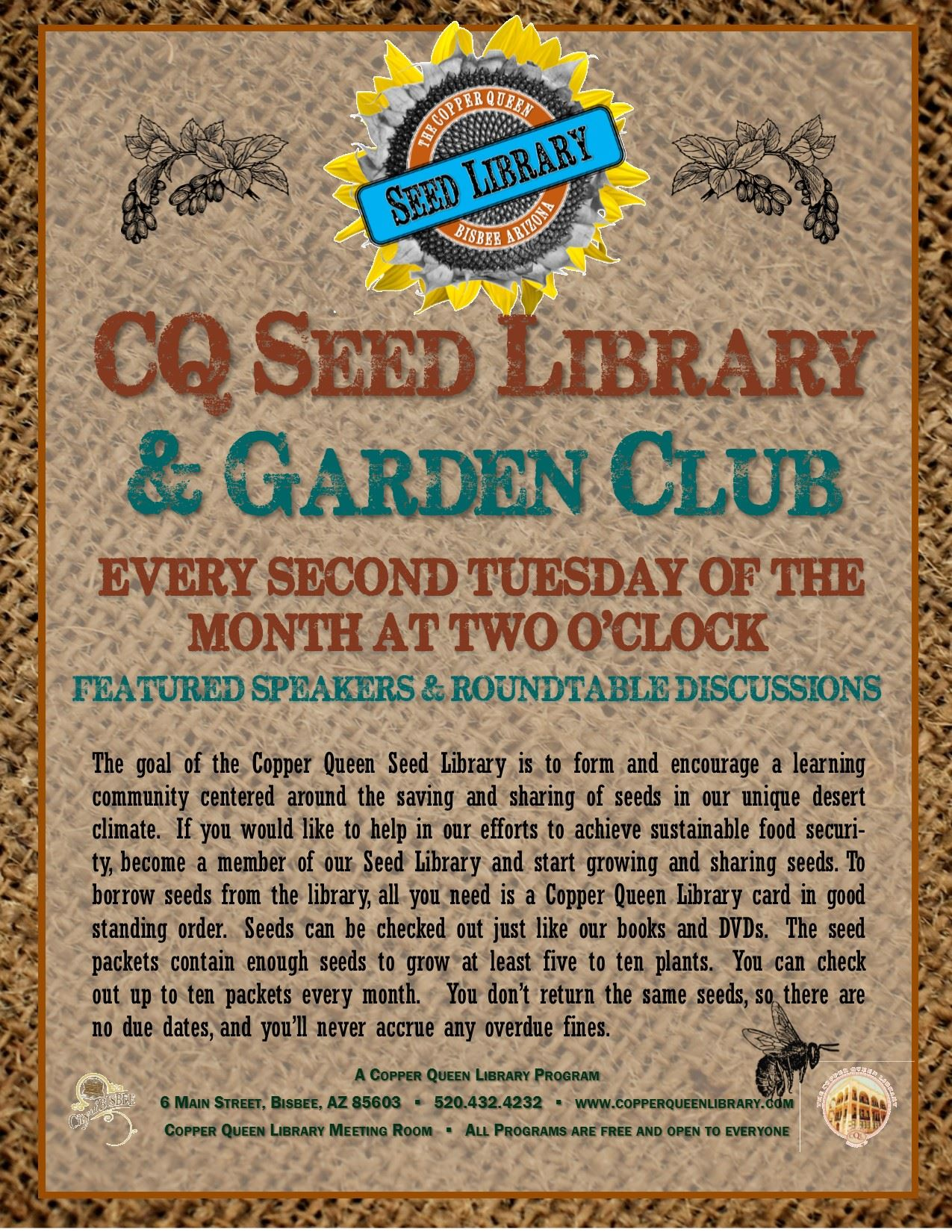 CQL SEED LIBRARY GARDEN CLUB 3.6.18 POSTER 8.5x11