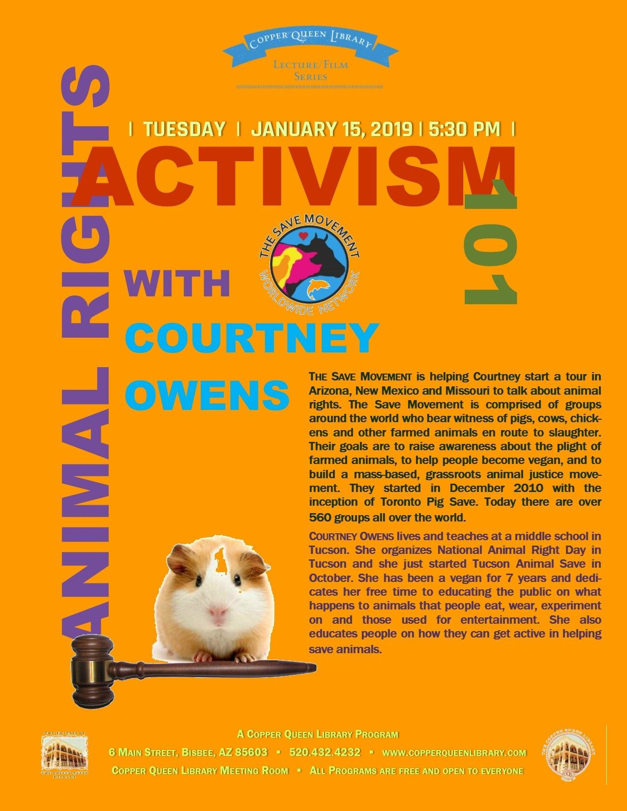 ANIMAL ACTIVISM COURTNEY OWENS 1.15.19 POSTER 8.5 X 11