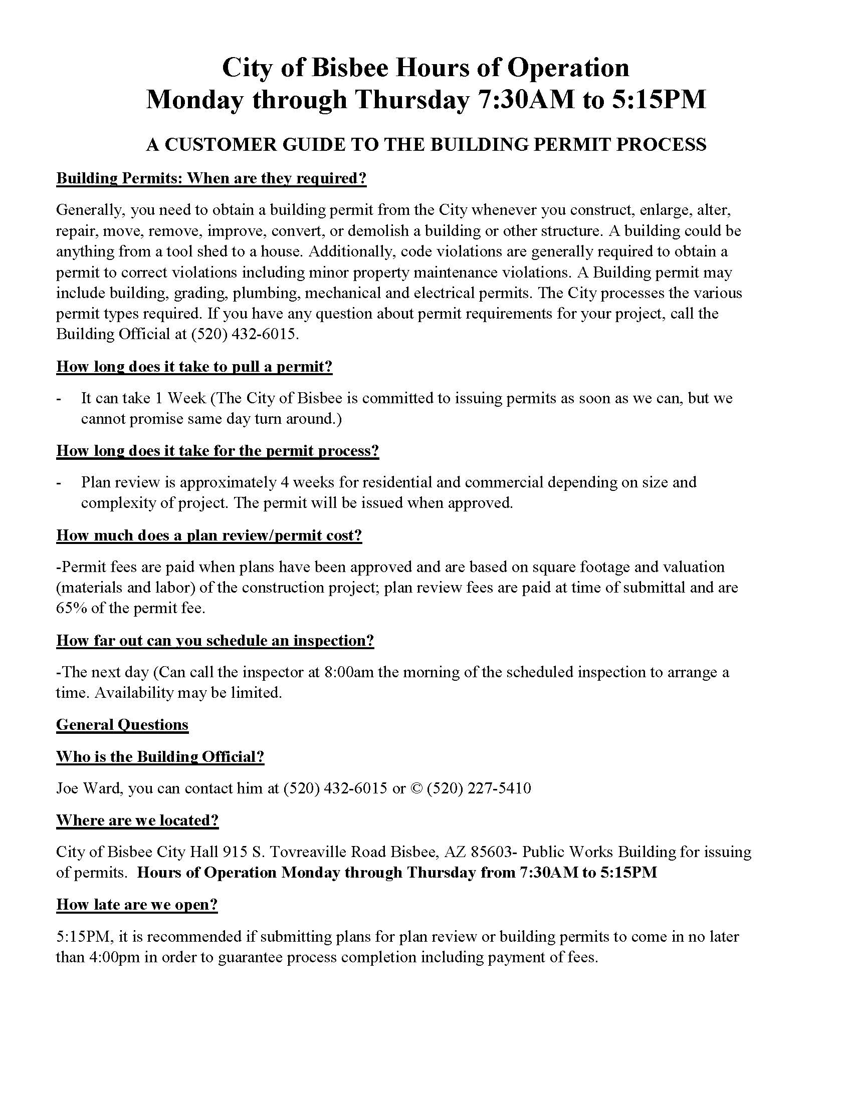 A CUSTOMER GUIDE TO THE BUILDING PERMIT PROCESS
