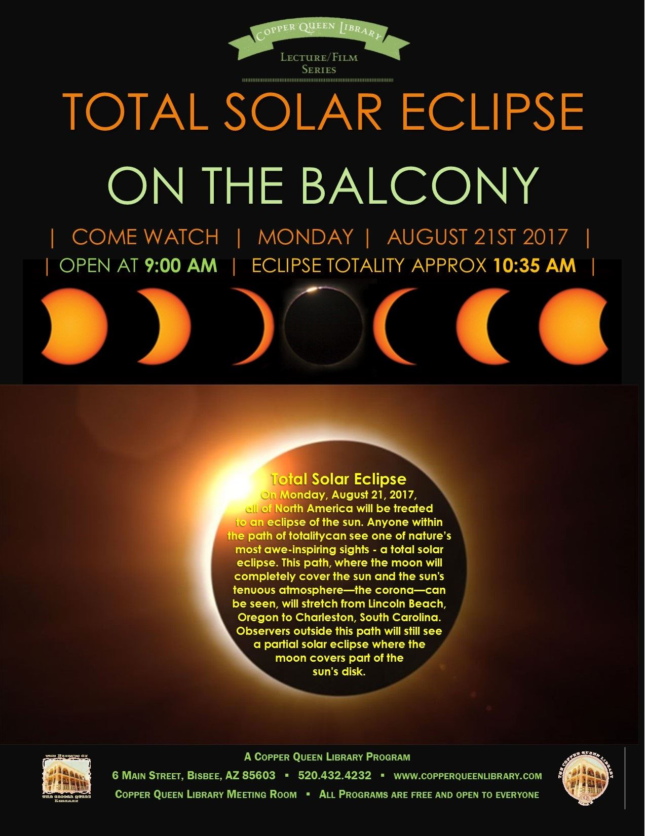 ECLIPSE BALCONY AUGUST 21 2017 POSTER 8.5 X 11