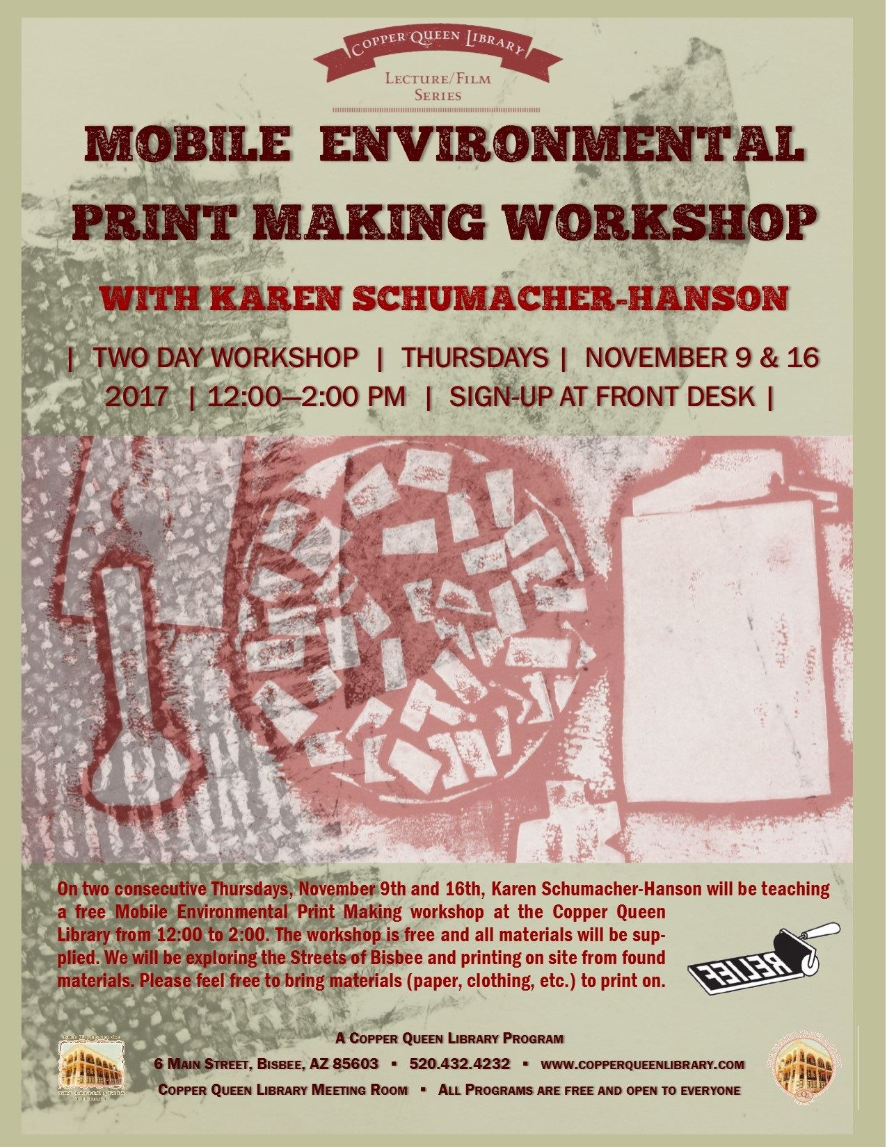 SCHUMACHER MOBILE PRINT WORKSHOP AUGUST 2017 POSTER 8.5 X 11