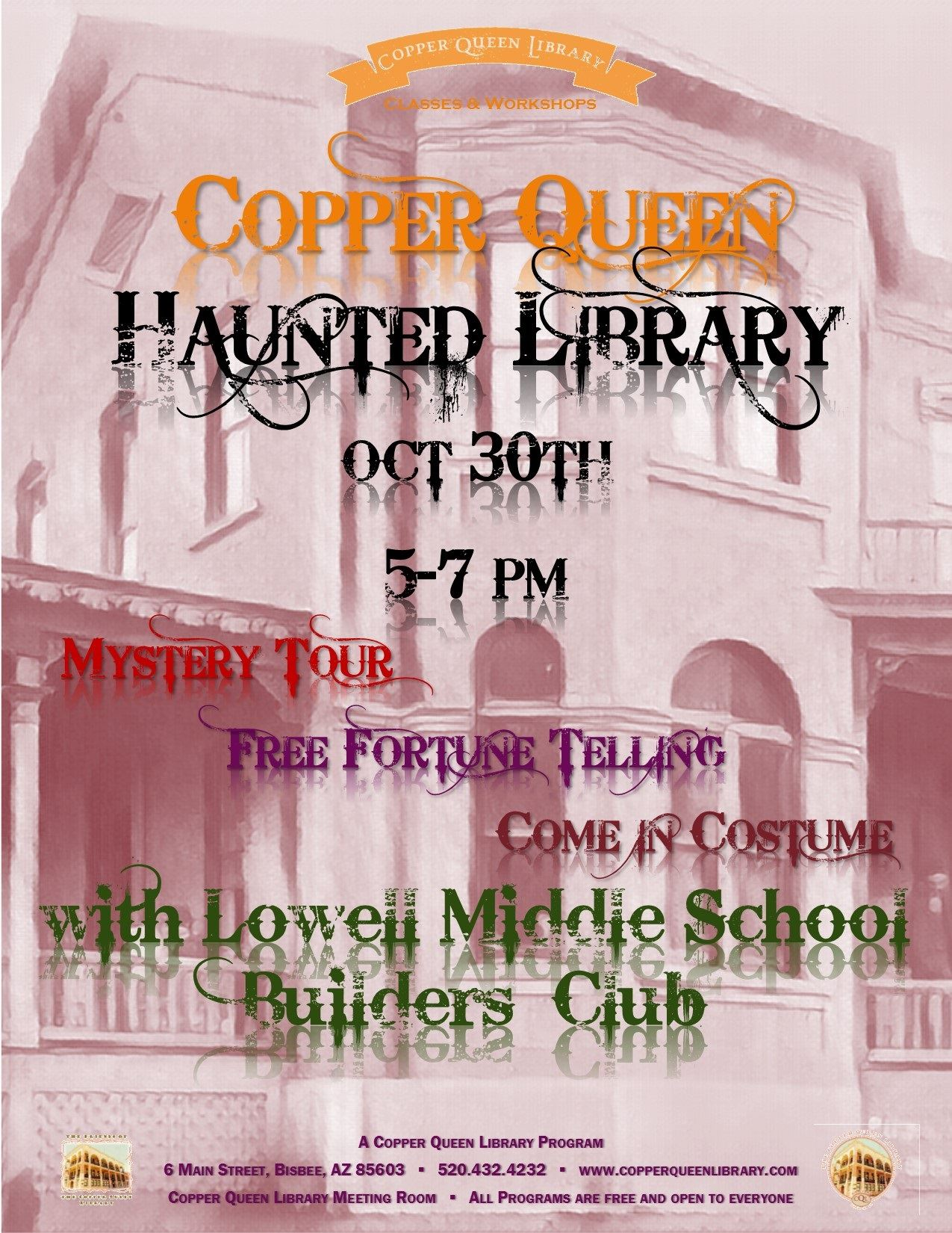 HAUNTED LIBRARY POSTER OCT 30 2018 8.5 x 11