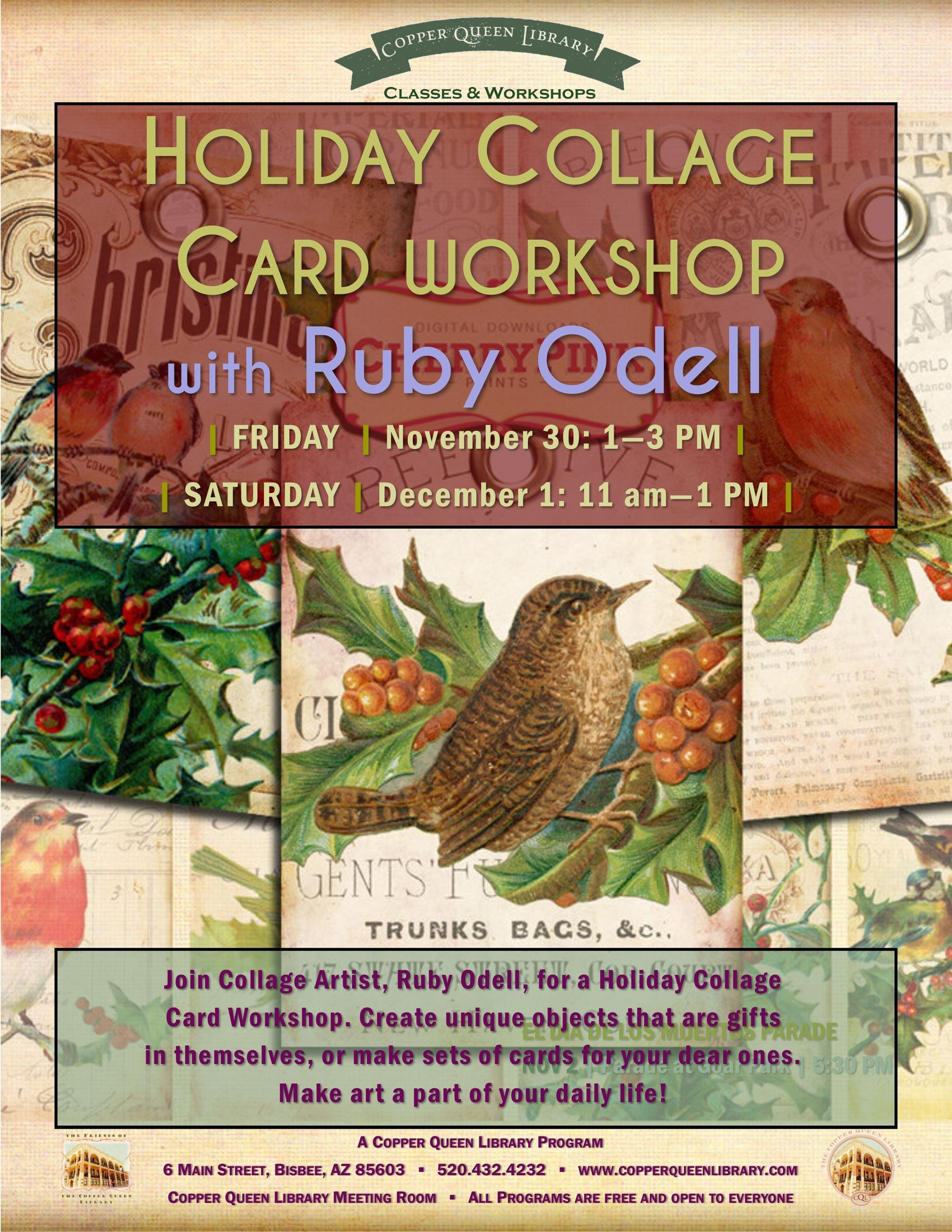 RUBY ODELL CARD WORKSHOP POSTER NOV DEC 2018 8.5 x 11